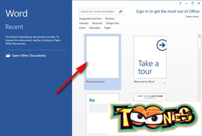 Sau khi cài đặt Office xong, khởi động Word. Nhấn Blank document để tạo một trang soạn thảo mới.