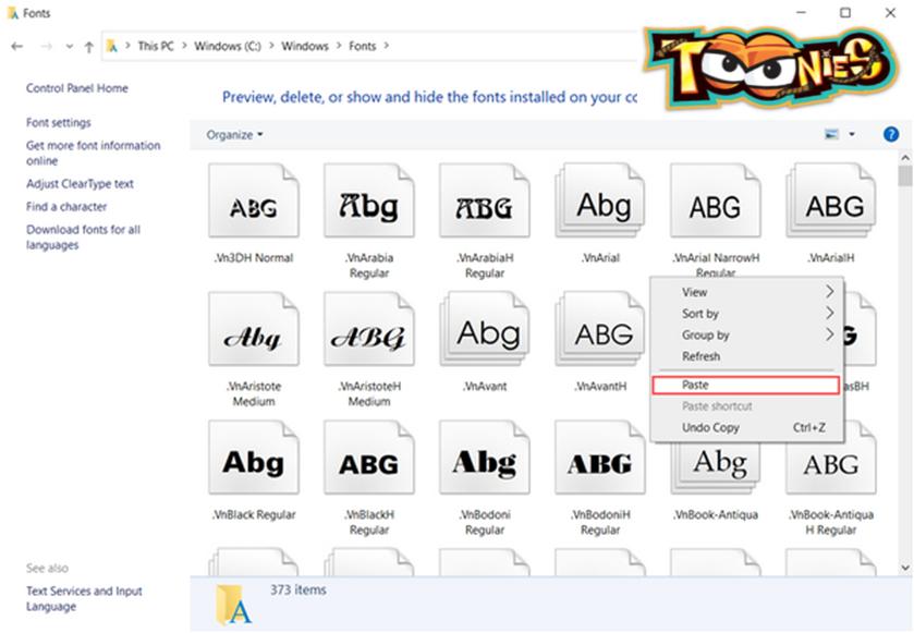 Copy font full vào đường dẫn (C:\Windows\Fonts)