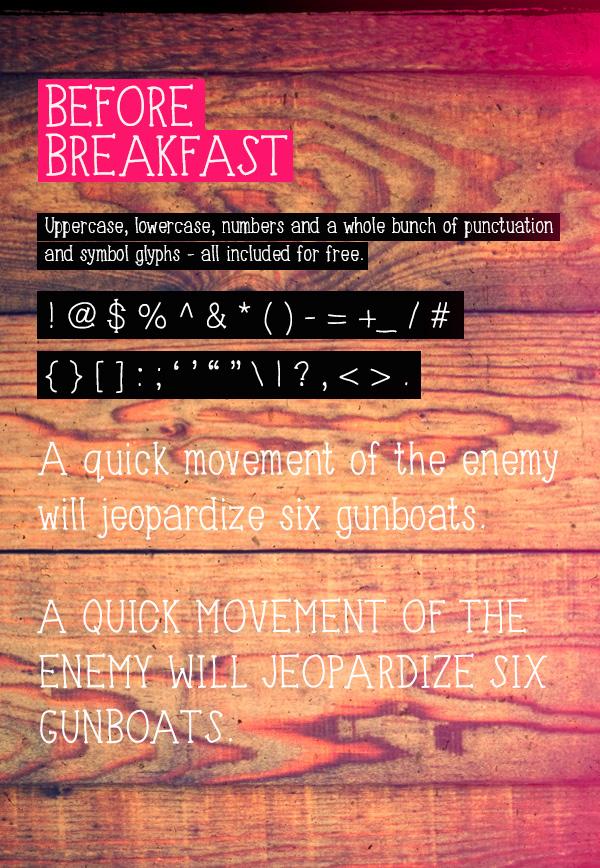 Font chữ viết tay Font chữ viết tay Before Breakfast