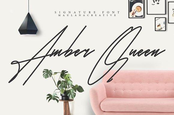 Font Chữ Viết Tay Amber Queen Signature Font